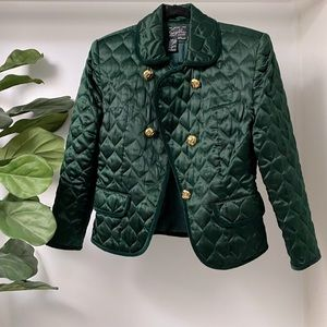 Vintage Suzelle Quilted Silk Green Gold Jacket 4